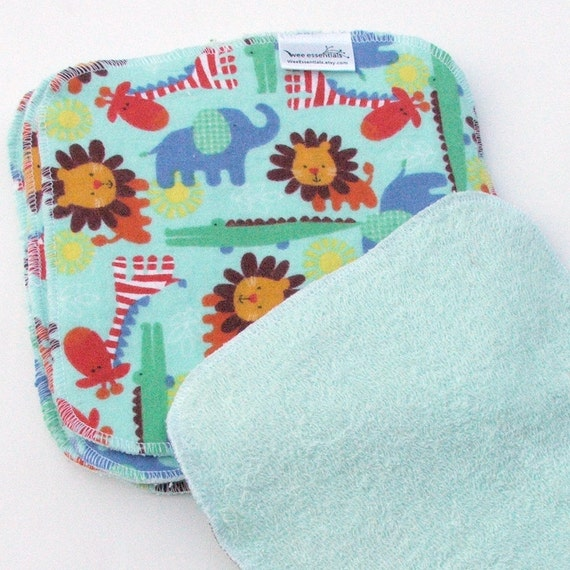 Baby Cloth Wipes 8 by 8 inch Serged Cloth Wipes/Washcloths - Baby Safari - Flannel/Baby Terry- set of 5