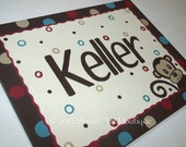 Monkey jungle animal circles dots Brown red turquoise Personalized Custom canvas name sign wall art children decor painting door monogram