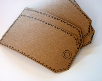 Set of 6 hand printed parcel tag kraft paper stickers in kraft brown.  Self adhesive labels, gift tags, bookplates, packaging, home office