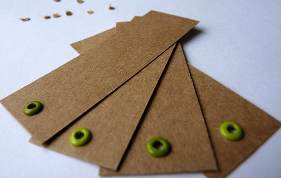 Mint and grass green eyelet crisp kraft brown labels or gift tags set of 4