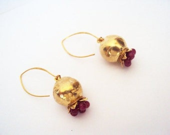 Pomegranate Earrings Gold Plated with Precious Stones