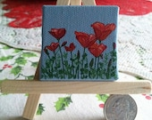 "Hand Painted Mini 2"" x 2"" Painting - Red Poppies on Blue"