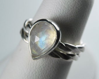 Sterling Silver Moonstone Ring - Rose Cut Moonstone Engagement Ring Set - Rainbow Moonstone Ring - Alternative Wedding Unique Engagement