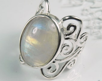 Moonstone Silver Ring - Rainbow Moonstone Swirl Statement Ring - Unique Silver Moonstone Jewelry -  Butterfly Filigree Vintage Inspired