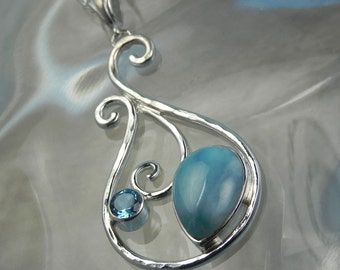 Sterling Silver Larimar Necklace - Larimar Blue Topaz Pendant - Ocean Blue Larimar Jewelry - Something Blue - Mermaid Dreams