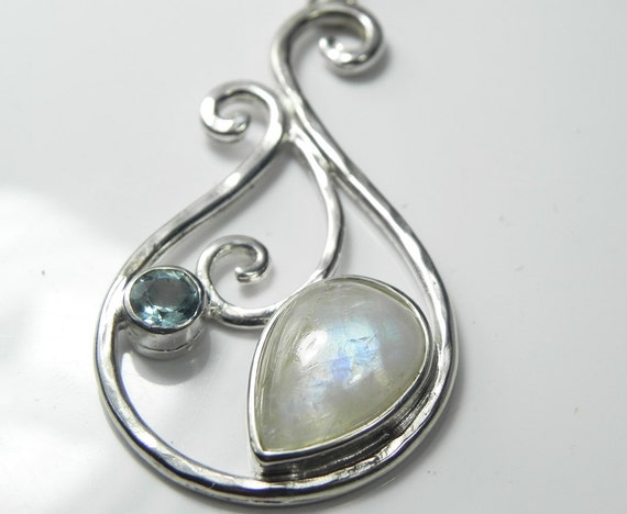 Moonstone Necklace - Rainbow Moonstone Pendant - Teardrop Pendant - Swirl Necklace -Blue Moonstone - Unique Moonstone Jewelry