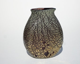 Crackle-Glass Vase - Unique - Hand Blown - Free Shipping