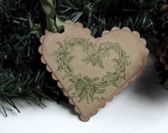 Christmas Gift Tags -  Set of 5 - Christmas Ornament - Hand stamped - Wreath - Heart