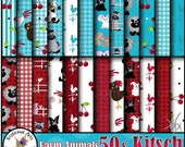 Farm Animals 50s Kitsch - 24 digital papers set with sheep horse cow chickens mice pig bunny mule dog cat [INSTANT DOWNLOAD]