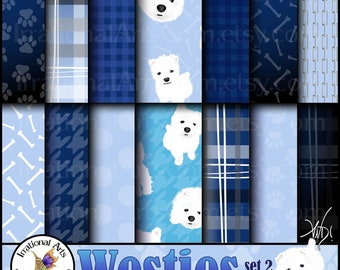 Westie Dog set 2 INSTANT DOWNLOAD 14 digital papers with 10 Westie dogs & 3 faces houndstooth madras plaid paw prints dog bones dots