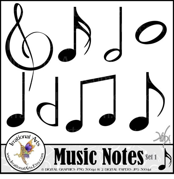 Music Notes set 1 INSTANT DOWNLOAD digital scrapbooking clipart graphics with music notes and sheet music in black and white