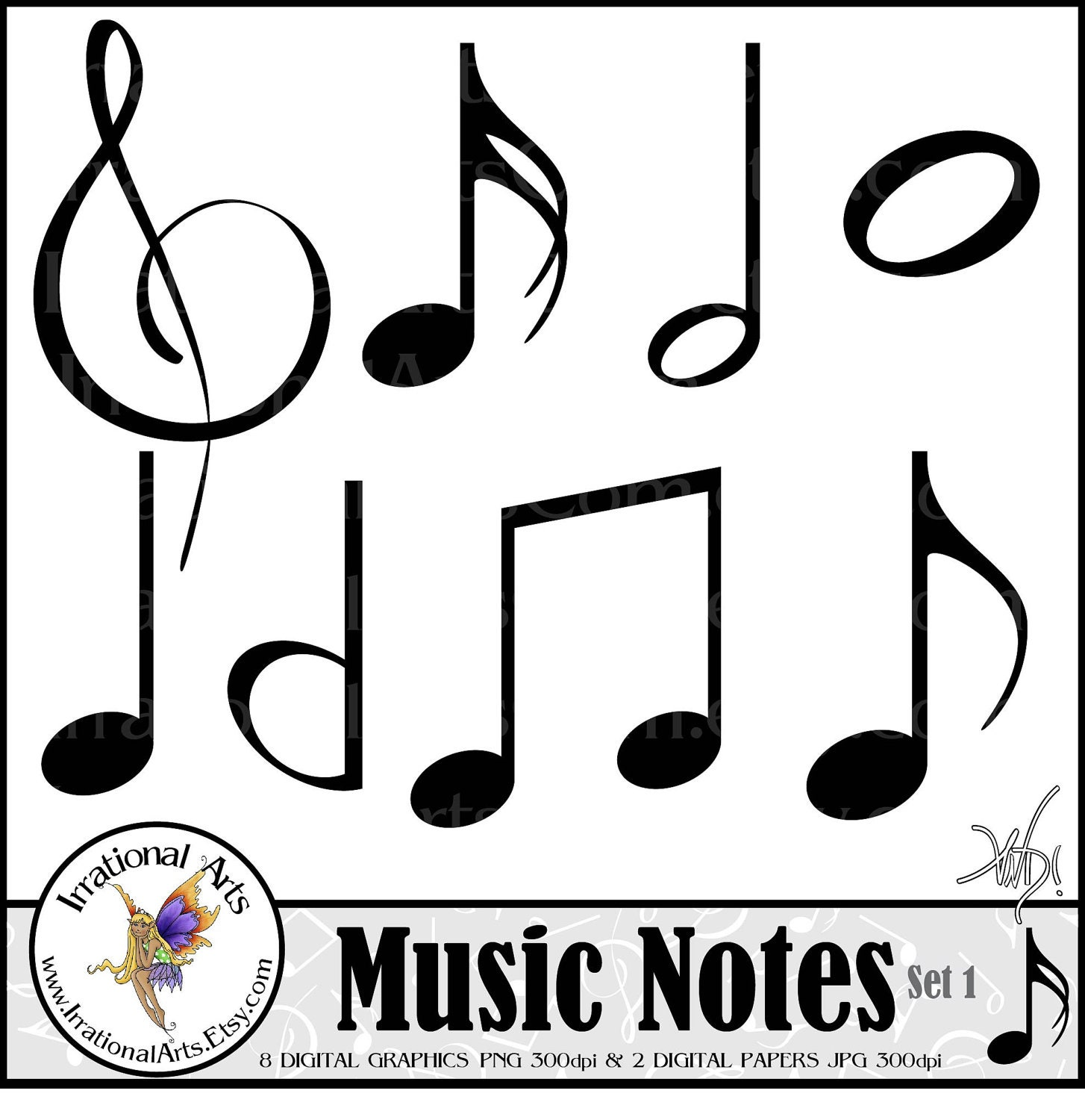 Music Notes set 1 INSTANT DOWNLOAD digital scrapbooking