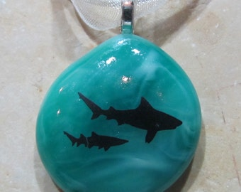 Fused Glass Pendant with ribbon necklace: Shark Bite Mini