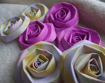 Scrapbook Flowers...7 Piece Set of Very Lovely Orchid Scrapbook Paper Flower Rolled Roses