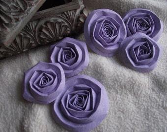 Scrapbook Flowers...6 Piece Set of Very Lovely Light Purple Scrapbook Paper Flower Rolled Roses