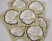 Hydrangea Banner - set of 8 mini thank you cards in cream, brown and green