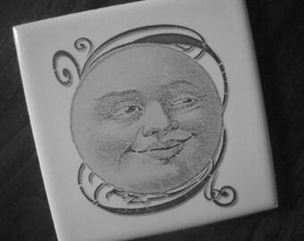 Ceramic tile or coaster  earth series- vintage moon, sun, tree custom order