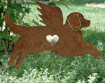 Rusty Finish Bernese Mountain Dog Angel Memorial Garden Art Yard Stake
