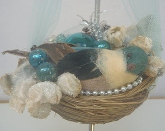 Blue Bird of Happiness Hanging Ornament Creatively Recycled Vintage Treasures