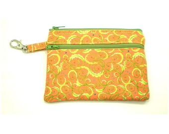 Larger Zippered Wallet Change Purse Gadget Case Orange with Lime Green Swirls