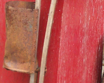 "RUSTIC CORN PLANTER, vintage farm, seeder, advertising, wood, rusty metal, shabby cool, 34"" high"