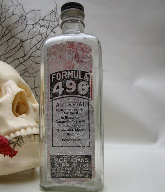 Vintage Embalming Fluid Bottle Glass Mortuary Funeral Medical Science Antiques Halloween Gothic Spooky Decoration