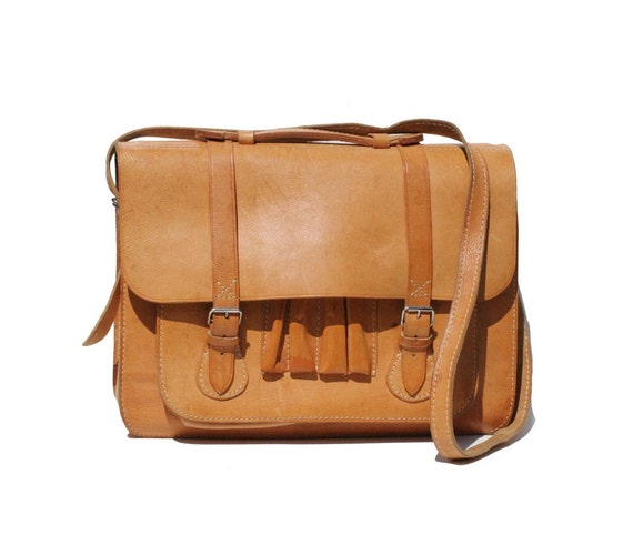 RESERVED Vintage British Tan Leather Briefcase Bag