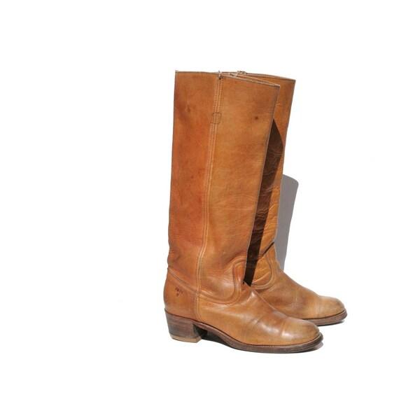 Vintage Tan Leather Black Label FRYE Campus Boots size: 8