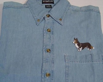 Cardigan Welsh Corgi Dog Embroidered Small to 4XL Long Sleeve Light Blue Denim Shirt - Price Embroidery Apparel