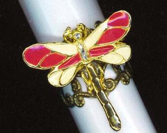 Steampunk Enameled Ring .Vintage Crimson Red Dragonfly. Rhinestones . Filigree Base . Statement Ring - In my Garden by enchantedbeas on Etsy