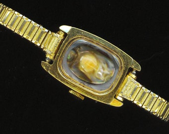 Steampunk Bracelet . Genuine Shell Domé/Mobé Pearl . Upcycled Watch Band . Rectangle - Sea Treasure by enchantedbeas on Etsy