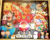 Sale OOAK Asian Year of the Dragon Mixed Media Shadowbox Art w Vintage Modern Items