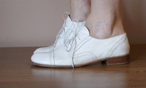 Italian White Leather Oxfords 7.5/8
