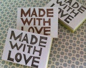 Hand carved rubber stamp - Made with Love
