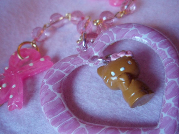 Hello Kitty Dangle Pink Heart Bows Beaded Necklace