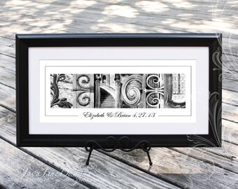 10x20 Personalized Name Frame in Black and White Alphabet Letter Photos (Custom Framed/Matted) - Wedding Table Display