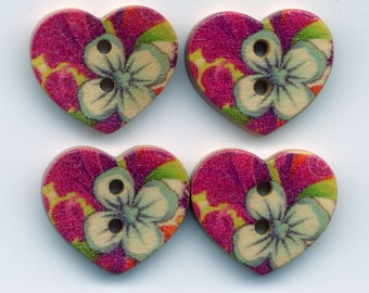 Purple Flower Buttons Decorated Wooden Heart Buttons 18mm (3/4 inch) Set of 8 /BT36