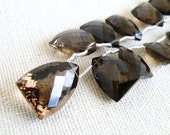 Smoky Quartz Briolette Fancy Checkerboard Cut Faceted Curved Triangle Drop Briolette Focal 15 mm