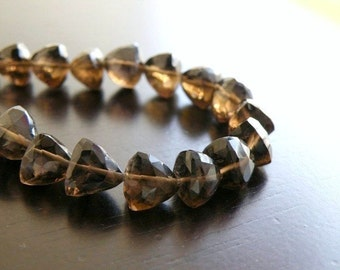 Smoky Quartz Briolette Gemstone Faceted Trillion Cut 8mm 1/2 Strand 14 beads