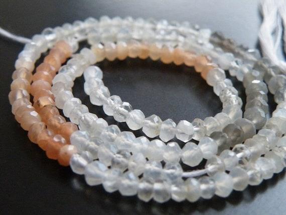 Moonstone Gemstone Rondelle AAA Multi Faceted 3.5mm 1/2 Strand 60 beads