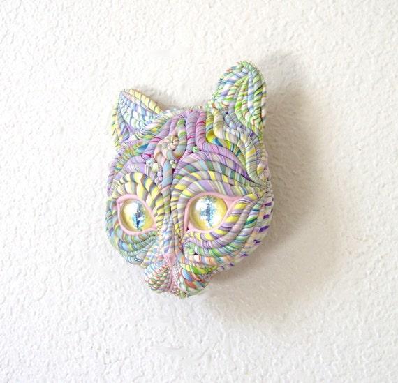 Pastel Cosmic Cat Sculpture Visionary Art OOAK