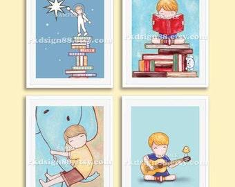 Childrens wall art prints, baby boy nursery decor, nursery art, nursery wall art, guitar art, music art, books Set, 4 prints