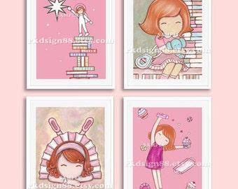 Baby girl nursery decor, nursery art, childrens wall art, numbers wall art, kids wall art, astronaut art, set, 4 prints