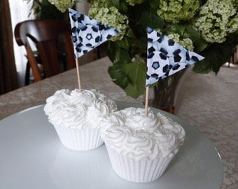 Cupcake Flags - 12 Fabric Soccer themed - Cake Toppers