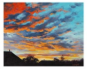 SUNSET OIL PAINTING sunrise Painting rural farm Landscape artwork by Graham Gercken