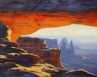 SUNRISE CANYONLANDS PAINTING Landscape painting desert painting mesa arch  utah