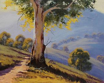 GUM TREES PAINTING Australian artwork kangaroo Trees landscape Traditional Painting by G.Gercken