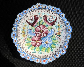 Hand Painted Enamel Tin Saucer - Blue Flowers and Birds
