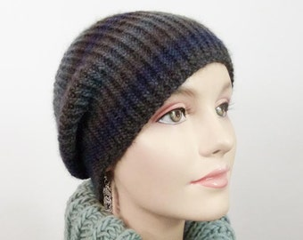 Hand Knit Hat - Slouchy Cloche in Navy, Brown, Grey and Blue Size Sm/Med - Item 1248