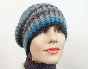 Chunky Hand Knit Hat, Slouchy Hat Size Med/Large  -  Ribbed Striped Hat in Turquoise & Grey Wool - Unisex  - Item 1278